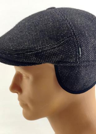 Мужская кепка реглан с флисом и ушками зимняя мужские