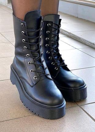 Ботинки, кожаные ботинки, ботинки на платформе, зимние ботинки