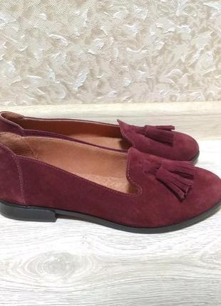 Лоферы, туфли 37,40,41 размер цвет марсал, замшевые