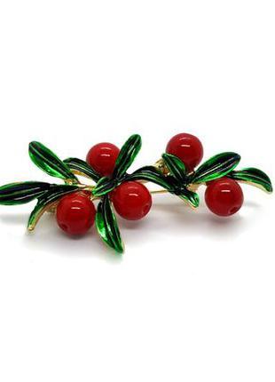 🍒☘️ брошь веточка с красными ягодами с натуральным камнем под ...