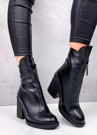 Женские кожаные ботильоны на среднем каблуке,чёрные ботинки на...