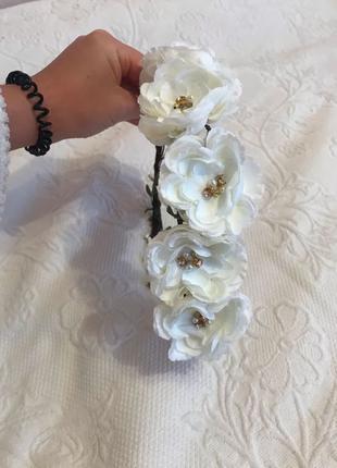 Веночек венок обруч белые розы 57 объём головы