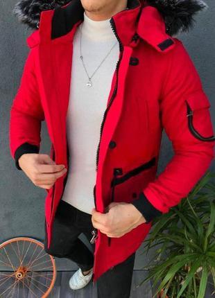 Мужская зимняя куртка красного цвета