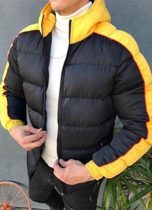 Мужская зимняя стильная куртка черного цвета