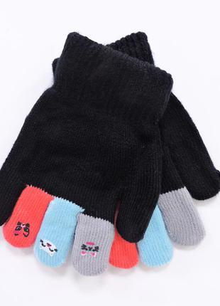 """Детские перчатки """"mini"""" черные с голубым"""