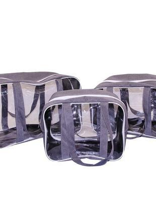 Набор из 3 сумок в роддом Premium Gray серый Сумки в роддом