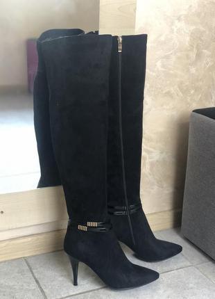 Sale !! ботфорт-чулок черного цвета на шпильке с заостренным н...