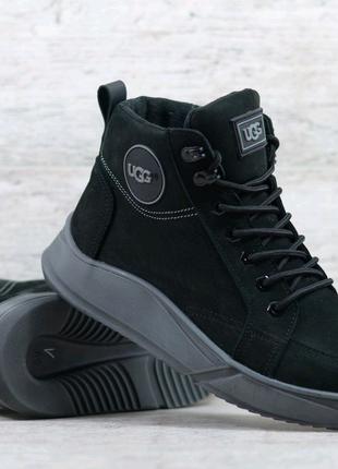 Мужские кожаные зимние ботинки , черные ботинки