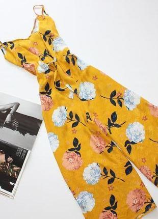 Модный комбинезон ромпер, брюки кюлоты, цветочный принт