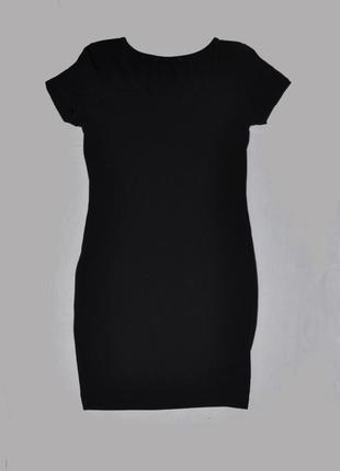 Черное трикотажное мини-платье