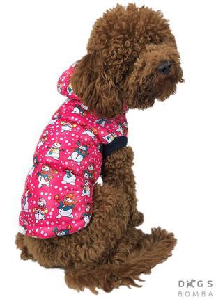 Одежда для собак Жилет Снеговики малиновый