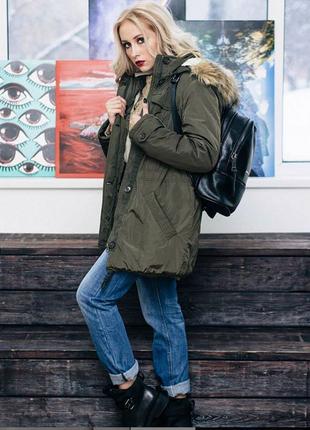 Куртка парка женская incity xs s м с меховой отделкой жіноча i...