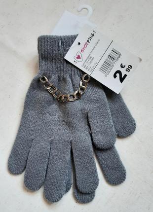 Светло серые вязаные перчатки цепь германия one size