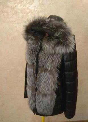 Курточка натуральная кожа и чернобурка трансформер все размеры