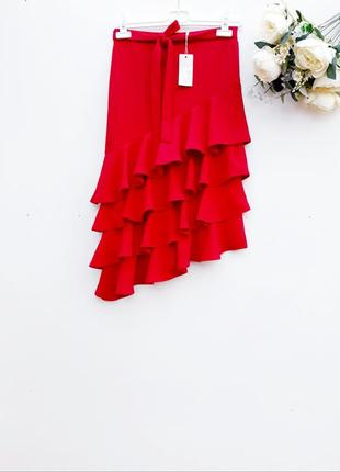 Ексклюзивная юбка миди юбка с воланами