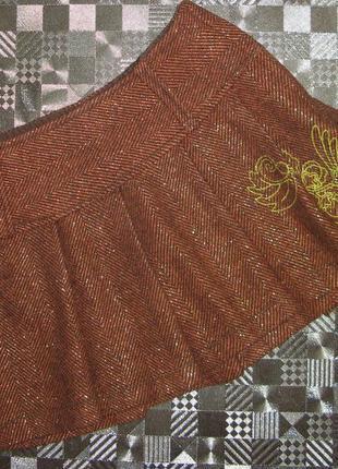 Шерстяная теплая короткая юбка с люрексом only р. 34