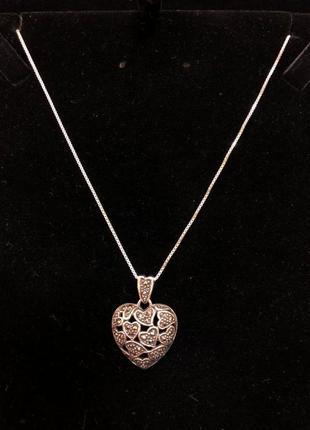 Серебряный кулон, подвеска-сердце и цепочка 925 проба