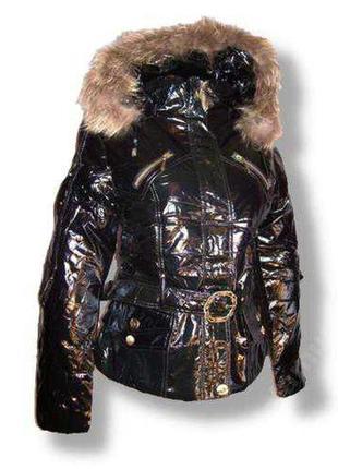 Зимняя куртка лакэ р.с, м на холофайбере, мех енот