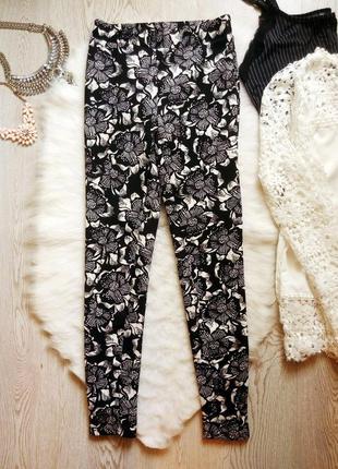 Яркие плотные штаны леггинсы лосины стрейч цветочный принт рис...