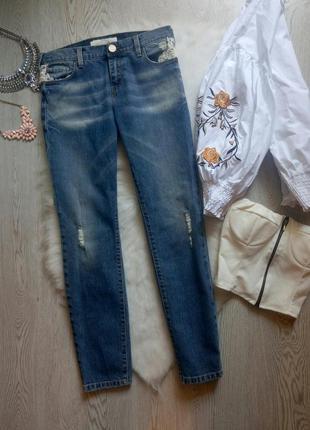 Синие голубые джинсы бойфренды момы с пуш ап пушап белым круже...