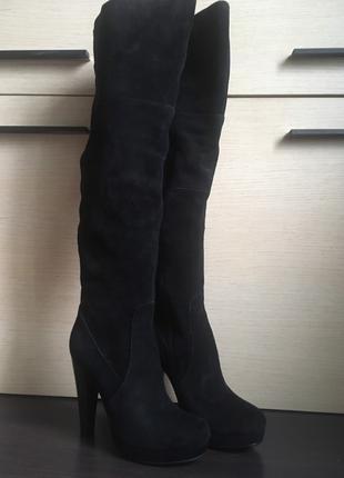 Сапоги ботфорты braska натуральная кожа (замша), размер 37