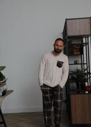 Мужской батальный хлопковый домашний костюм. пижама штаны и ко...