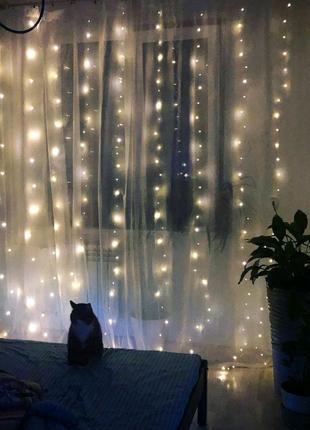 Гірлянда штора новорічна на вікно гирлянда новогодняя на окно