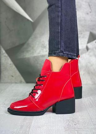❤ женские красные лаковые зимние ботинки ботильоны ❤