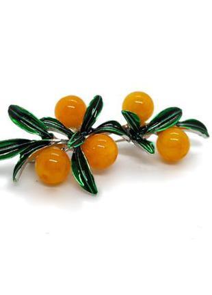 🍈🍋 брошь веточка с оранжевыми ягодами с натуральным камнем под...