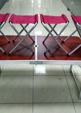 Стол для пикника, рыбалки .Алюминиевый усиленный + 4 стула