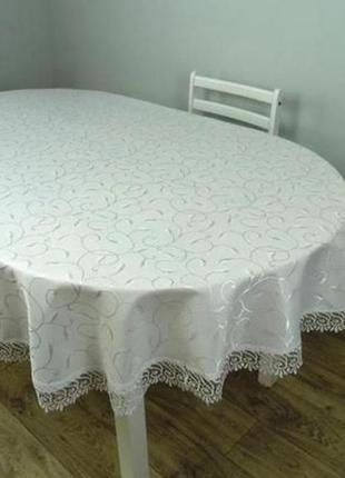 Скатерть с кружевом на овальный стол 152*220, белая, айвори