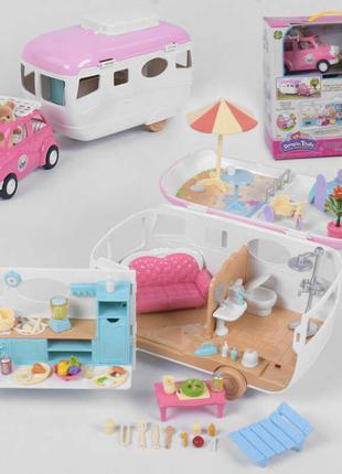 Кукольный домик на колесах  раскладной 12118, мебель