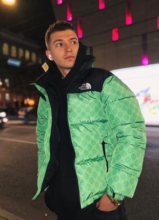 Шикарная мужская куртка чёрная с зелёным the north face наложе...