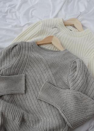 Потрясающий серый свитер, пуловер, джемпер, кофта с объёмными ...