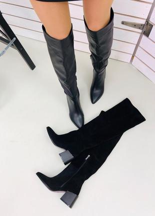 Женские высокие сапоги ботфорты на каблуке