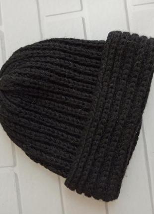 Шапка зимняя черная, теплая шапка, шапка с отворотом