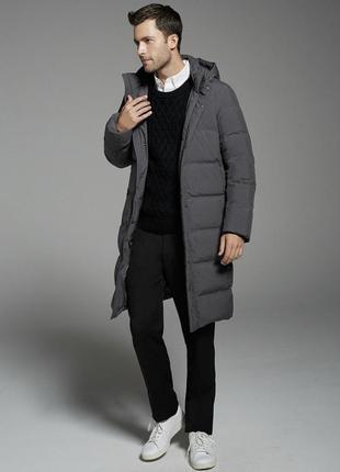 Длинный мужской пуховик пальто с капюшоном юникло uniqlo