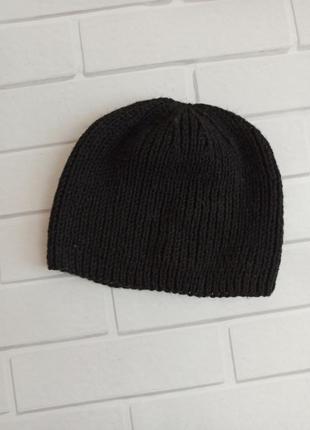Шапка демисезонная черная, шапка без отворота