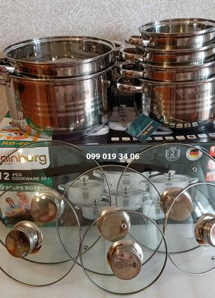 Набор кастрюльRainberg RB-60612 предметов 9-ти слойное дно