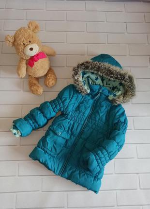 Куртка зимняя бирюзовая, пуховик на флисе на девочку