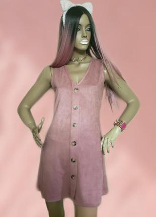 Очень мягкое платье эко замша с пуговицами от missguided