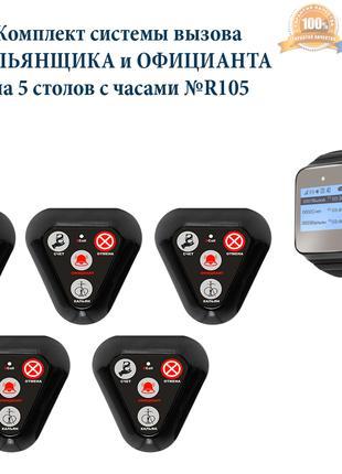 Кнопка вызова кальянщика и официанта, комплект с часами P-02