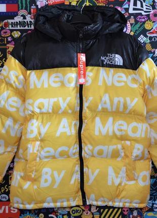 Зимняя куртка supreme x tnf(yellow)