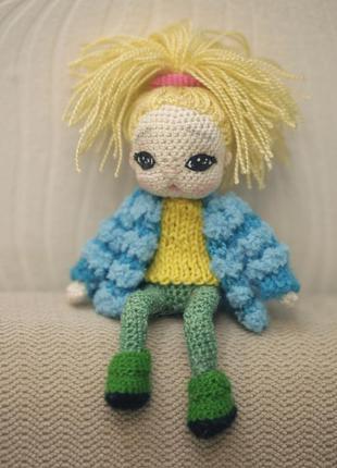 Интерьерная куколка в синем жакетике