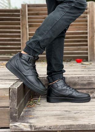 Зимние кроссовки nike air force high черные / мужские