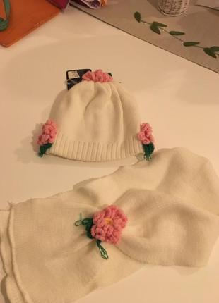 Комплект шапка и шарф plato на девочку 5-8 лет