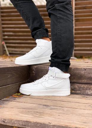 Зимние кроссовки nike air force high белые / мужские