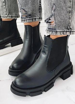 Женские зимние кожаные ботинки челси,чёрные кожаные ботинки на...