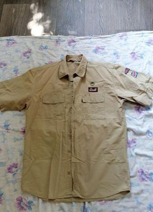 Рубашка мужская с коротким рукавом, хаки. Размер М