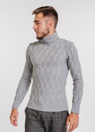 Мужской вязаный свитер гольф водолазка